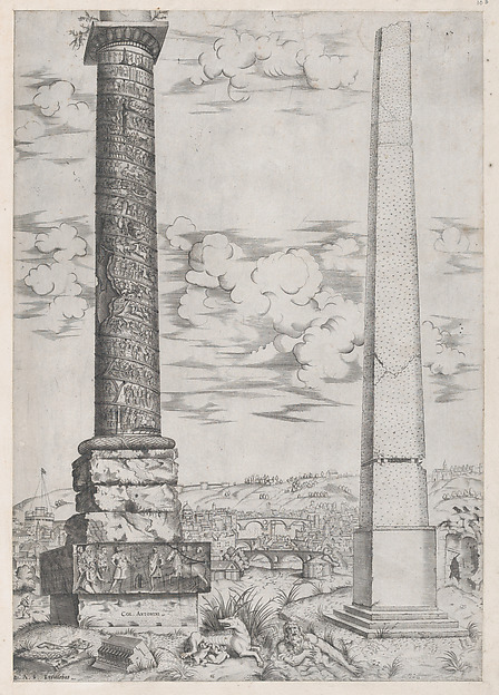 Fascinating Historical Picture of Enea Vico with Speculum Romanae Magnificentiae| Column of Antoninus and a Roman Obelisk in 1543