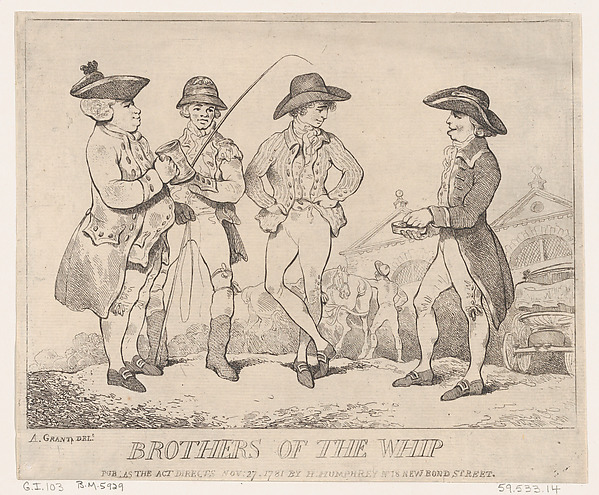 Fascinating Historical Picture of Thomas Rowlandson with Brothers of the Whip on 11/27/1781