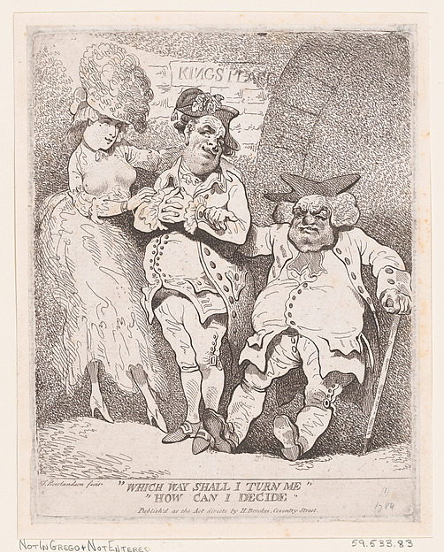 Fascinating Historical Picture of Thomas Rowlandson with Which Way Shall I Turn Me? How Can I Decide? in 1784