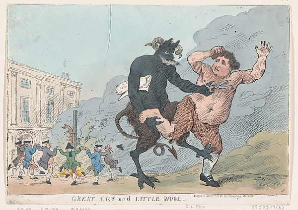 Fascinating Historical Picture of Thomas Rowlandson with Great Cry and Little Wool on 12/22/1783
