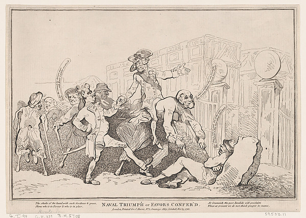 Fascinating Historical Picture of Thomas Rowlandson with Naval Triumph or Favours Conferred on 11/13/1780