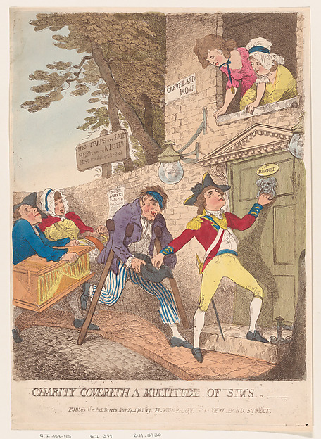 Fascinating Historical Picture of Thomas Rowlandson with Charity Covereth a Multitude of Sins on 11/27/1781