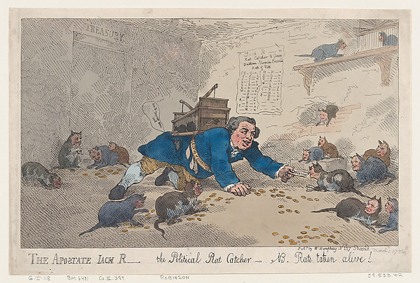 Fascinating Historical Picture of Thomas Rowlandson with The Apostate Jack Robinson The Political Rat CatcherN.B. Rats Taken Alive! on 3/1/1784