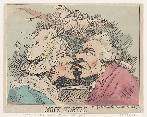 Fascinating Historical Picture of Thomas Rowlandson with Mock Turtle on 1/24/1785