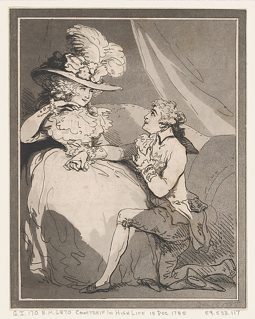 Fascinating Historical Picture of Thomas Rowlandson with Courtship in High Life on 12/15/1785