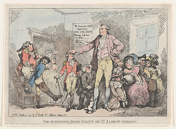 Fascinating Historical Picture of Thomas Rowlandson with The Surprising Irish Giant of St. Jamess Street on 3/27/1785