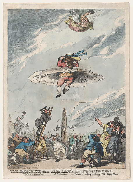 Fascinating Historical Picture of Thomas Rowlandson with The Parachute or a Sage Ladys Second Experiment on 9/15/1785