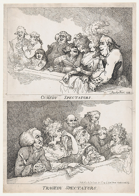 Fascinating Historical Picture of Thomas Rowlandson with Comedy Spectators Tragedy Spectators on 10/8/1789