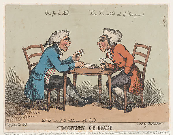 Fascinating Historical Picture of Thomas Rowlandson with Two Penny Cribbage on 10/1/1810