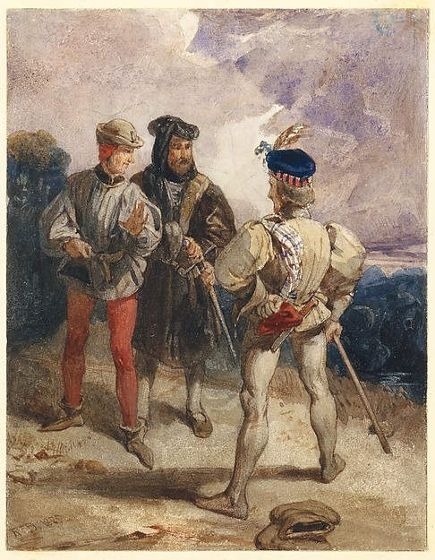Quentin Durward and the Disguised Louis XI (recto); Study of male figure (verso)
