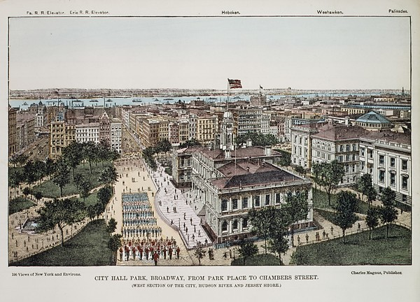 City Hall Park, Broadway, from Park Place to Chambers Street (West Section of the City, Hudson River and Jersey Shore)