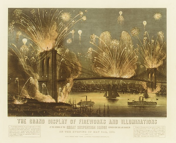 The Grand Display of Fireworks and Illuminations at the Opening of the Great Suspension Bridge Between New York and Brooklyn on the Evening of May 24, 1883. View from New York Looking towards Brooklyn.