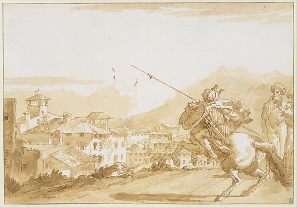 Turkish Lancer and Onlookers Approaching a Town