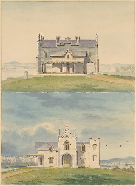 Knoll for William and Philip R. Paulding, Tarrytown (south and east [front] elevations)