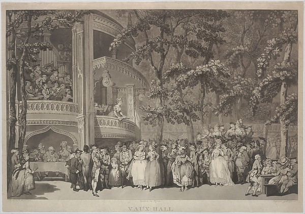 Fascinating Historical Picture of after Thomas Rowlandson with Vauxhall Gardens on 6/28/1785