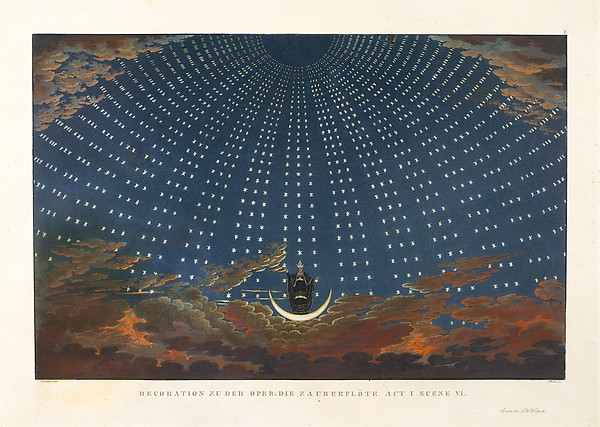 Design for The Magic Flute:  The Hall of Stars in the Palace of the Queen of the Night, Act 1, Scene 6