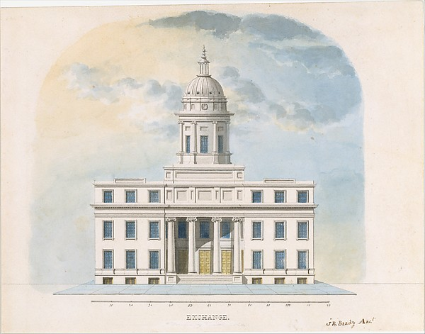 First Merchants' Exchange, New York (elevation of main façade)