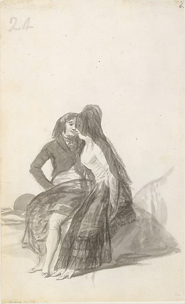 Lovers Sitting on a Rock
