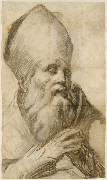 Bishop Saint in Bust-Length (Cartoon for an Altarpiece)