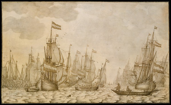 Dutch Ships on a Harbour