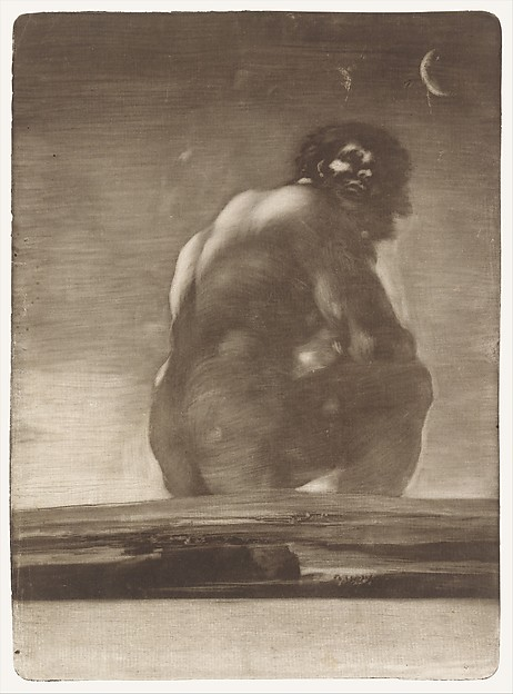 A giant seated in landscape
