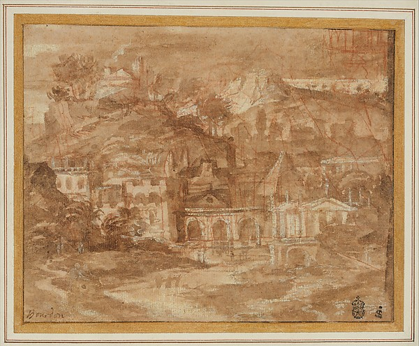 A Classical Landscape with Buildings by a River