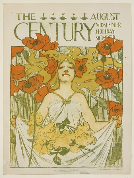 THE AUGUST / CENTURY MIDSUMMER HOLIDAY NUMBER / FIRST PRIZE, CENTURY POSTER CONTEST. / [COPYRIGHT 1896 BY THE CENTURY CO.] / ELIHU VEDDER, / F. HOPKINSON SMITH, / HENRY J. HARDENBERGH, / JUDGES.
