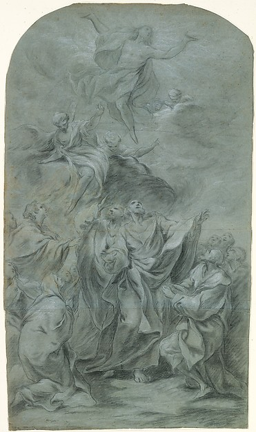 The Ascension of Christ (recto); Head of a Bearded Man Looking Down (verso)