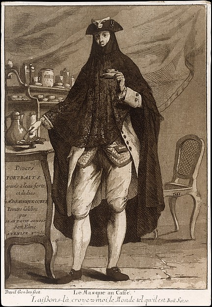 A man wearing a mask drinking a cup of coffee (Le Masque au Caffé), Title page to 'Divers Portraits'