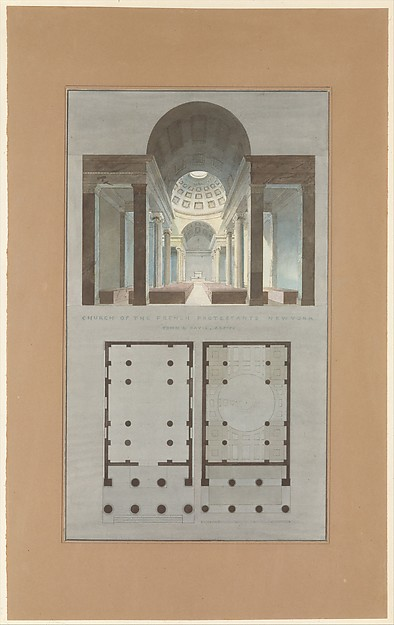 Church of the French Protestants (Eglise Français du Saint Esprit), New York (section and plan)