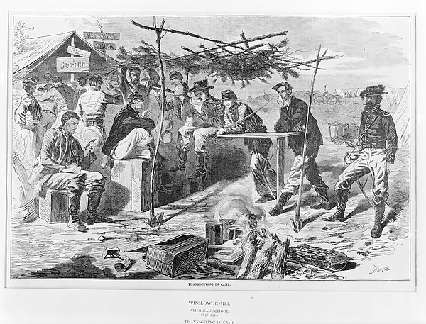 Fascinating Historical Picture of Winslow Homer with Thanksgiving in Camp (Harpers Weekly Vol. VII) on 11/29/1862