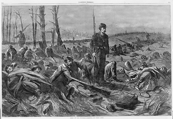Fascinating Historical Picture of  with Army of the Potomac  Sleeping on Their Arms (Harpers Weekly Vol. VIII) on 5/28/1864