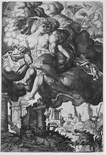 Ixion attempting to seduce Juno, surrounded by clouds with ruins below