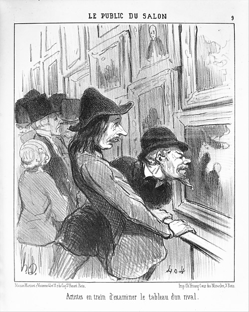 Fascinating Historical Picture of Honor Daumier with Artists Examining the Work of a Rival (Artistes en train dexaminer le tableau dun rival) from Le on 5/14/1852