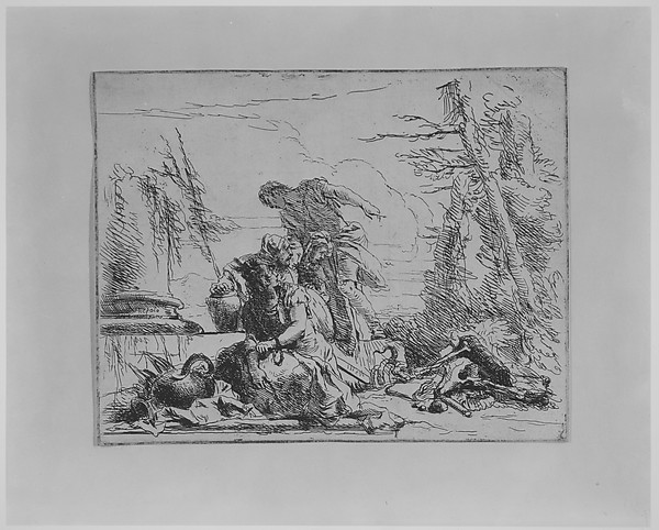 Fascinating Historical Picture of Giovanni Battista Tiepolo with Chained Woman and Other Figures Regarding a Pyre of Bones from the Capricci in 1743