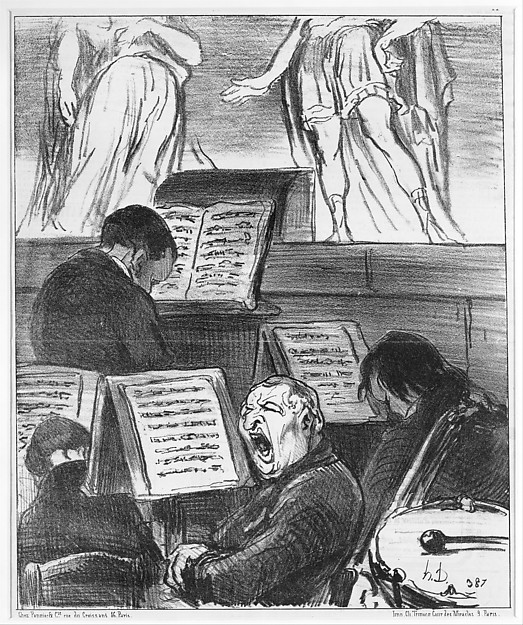 The Orchestra During the Performance of a Tragedy (L'orchestre pendant qu'on joue une tragédie), from Croquis Musicaux, published in Le Charivari,  April 5, 1852