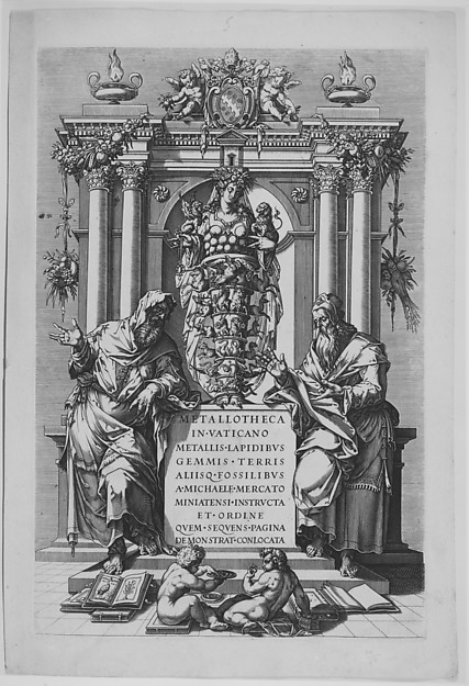 Fascinating Historical Picture of Matthaeus Greuter with Tomb and Medals of Pope Sixtus V in 1630