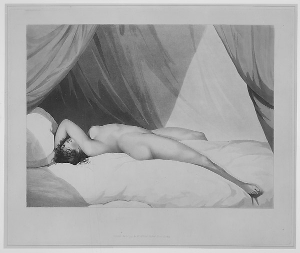 Fascinating Historical Picture of Adam Buck with Nude Reclining on Curtained Bed [Emma Hamilton (?)] on 11/1/1797