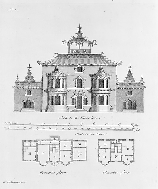 Fascinating Historical Picture of  with The Chinese and Gothic Architecture... Being Twenty New Plans and Elevations On Twelve Copper-Plate in 1752