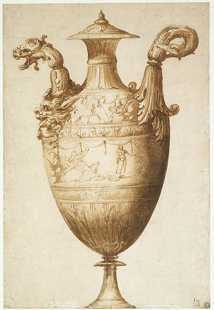 Design for a Vase with Hercules and Farnese Lilies, ca. 1540s