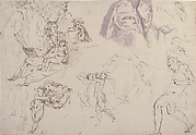 Figure Studies: The Holy Family, a Running or Dancing Child, Drapery Studies