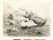 Combat Naval (L&#39;Alabama coulant sous le feu de Kearsage)