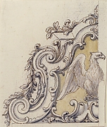 Design for a Sculptural Ornament With an Eagle, Volutes and Leaves.