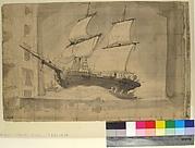 """Drawing for Wagner's """"Le Vaisseau Fantôme,"""" Paris Opéra"""