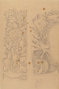 Left Part of the Drawing: Floral Ornaments; Right Part of the Drawing: Half Cartouche Decorated with Leaves, Arms and a Lion