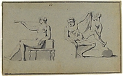 Seated Nude Female with Horn and Seated Nude Male with Cupid