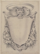 Design for a Cartouche Surmounted by a Lion's Head in Scrollwork Suspending Swags of Fruit and Leaves