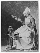 A Woman Spinning Flax