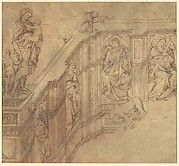 Design fragment for the left side of the Fonte Gaia in Siena