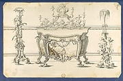 Commode Table and Candlestands, in Chippendale Drawings, Vol. I